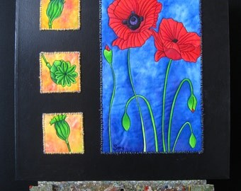 "ORIGINAL ""Poppies Inside & Out"" Art Quilt"