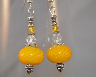 Crystal and Lampwork Glass Bead Genie Bottle Earrings - Yellow