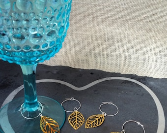 Gold Leaf Wine Charms Mix & Match Your Own Personal Sets | Leaf Charm | Nature Theme | Champagne Glass Coffee Tea Cup Coworker Gift