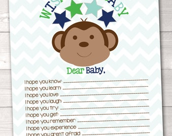 Printable Baby Wishes Card Blue & Green Little Monkey Design INSTANT DOWNLOAD PDF