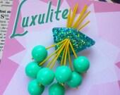 Aqua-tastic! - 1950s confetti lucite style novelty aqua cherry brooch by Luxulite