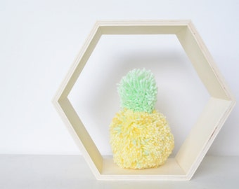 "One Large Yarn Pom Pom Pineapple - 6.5"" Tall - Party, Home, Kids Room, Photo, Summer Decor"