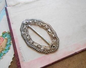 victorian silver filigree buckle - antique victorian jewelry accessories