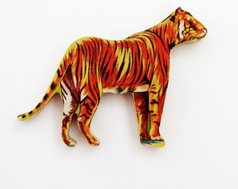 1960s Tiger Brooch - Pin / Unique Gift Under 50 / Upcycled Vintage Hand Cut Wood Jewelry / Rust Brown & Black Wood Jungle Animal