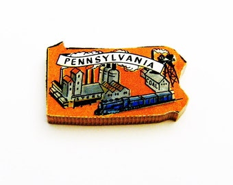 1960s Pennsylvania Brooch - Pin / Unique Wearable History Gift Idea / Upcycled Vintage Hand Cut Wood Jewelry / Timeless Gift Under 25