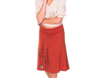 Mothers day gift, Plus Size Skirt, Midi skirt, A-line skirt Knee length skirt, Plus size Burnt orange skirt, Applique skirt - Little house