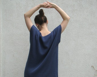 Oversized Dress Loose Tunic Late Blue Knitted Blouse Simple Woolen Baggy Sweater Dress Woman's Merino Dress Tunic Casual Clothing Pure Wool
