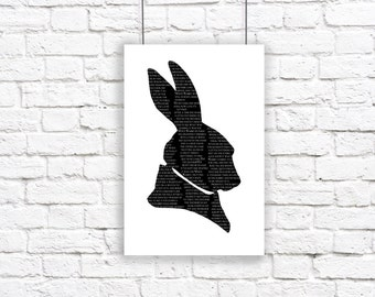White Rabbit Alice In Wonderland Large Silhouette Poster Print Black and White Lewis Carroll Quote Literature