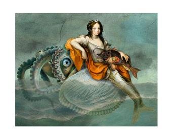 Mermaid Nautilus Blue Print Digital Art Surreal Home Decor Beach House Fish Squid Orange