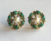 10k solid Gold Cluster Earrings Turquoise Pearl Vitctorian Styled Back Thennish Vintage 3.3g