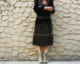 "28"" Waist Brown Ombre Velvet Skirt Roberto Cavalli Sz 38 US 4 Italy Gorgeous 1,200 original retail"