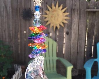 "8"" Long Large 50mm Crystal Clear Moon Rainbow, Rainbows, Suncatcher, Sun Catcher, Hanging Crystal, Window Crystal, Rearview Mirror Car Charm"