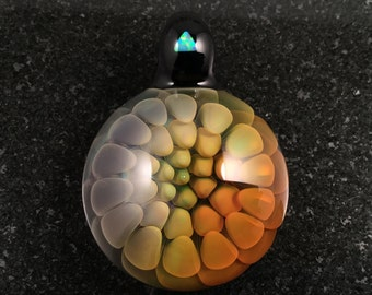 Fume Rainbow Glass Implosion Pendant with Triangle cut White Opal---Majestic Glass Arts---