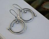 Silver Spiral Earrings. Asymmetric Textured Sterling Silver Earrings. Rustic Unique Handmade Jewelry.