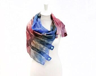 silk scarf, felt scarf, hand painted, dyed, wool scarf, merino, winter scarf, kate ramsey, fabulousfelt, blue, dusky pink, red