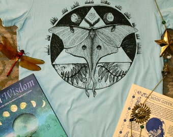 Luna moth nature triangle moons hand drawn printed junior fit ladies tee