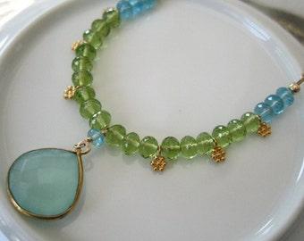 Aqua Chalcedony Bezel Boho Necklace Aqua Chalcedony and Peridot Necklace