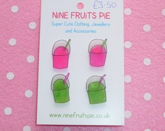 Scrummy Yummy Junk Food Earrings Ear Studs Super Slushy Slush Puppy Pink and Green 2 Pairs