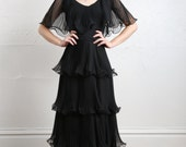RESERVED for melissa ..... SALE- 1960s Ruffle Maxi Gown