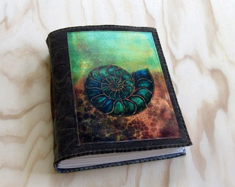 ammonite journal - nautilus - brown waxed canvas journal