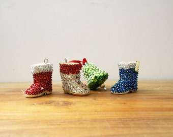 vintage 50s Sequin Christmas Ornaments // Winter Boots & Bell Novelty Tree Decorations // Set of 4
