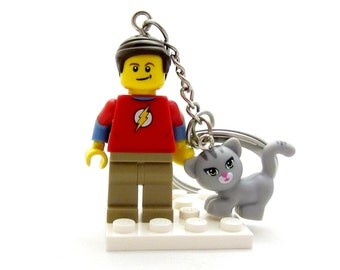 Dr. Sheldon Cooper® Inspired Big Bang Theory® With Soft Kitty - Figure, Keychain OR Necklace - Fan Art Crafted With LEGO® Elements