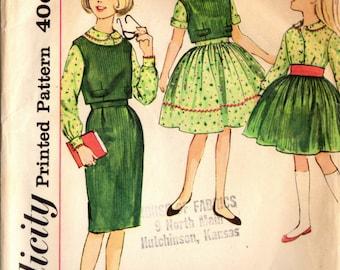 1960s Simplicity 3571 Vintage Sewing Pattern Girl's Top, Blouse, Slim Skirt, Full Skirt Size 12