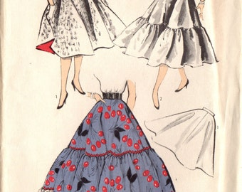 1950s Advance 6468 FF Vintage Sewing Pattern Junior Full Skirt, Petticoat Size Waist 24-1/2