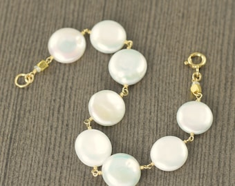 Valentine's Day gift Pearl bracelet white coin pearl bracelet gold filled wire wrapped