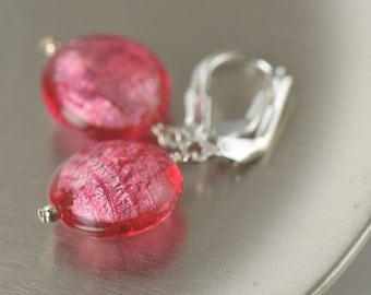 Pink Glass Earrings pink murano Glass Earrings Pink Dangle Earrings  gifts for her