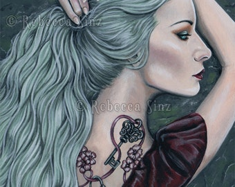 Silence PRINT Art Woman Portrait Gothic Pastel Goth Tattoos Lock and Key Mint Green Hair Profile Long Hair Bubblegoth Acryl gouache 3 SIZES