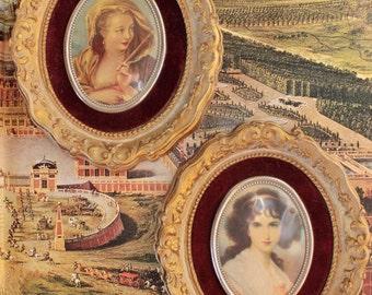 vintage prints - framed cameo portraits - set of 2