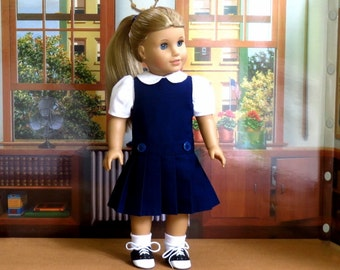 18 inch Doll Clothes School Uniform Handmade to fit American Girl Doll, Navy Blue Jumper, White Blouse with Peter Pan Collar