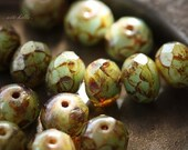 VERDE .. 10 Premium Picasso Czech Rondelle Beads 6x8mm (474-10)