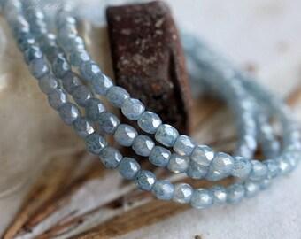 BLUE CASHMERE BITS .. 50 Picasso Czech Blue Glass Beads 3mm (5035-st)