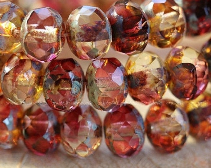 SANGRIA .. 10 Premium Picasso Czech Glass Faceted Rondelle Beads 6x8mm (1675-10)