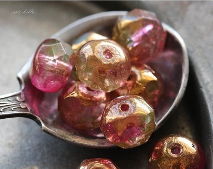 GILDED SHIRLEY .. 10 Premium Picasso Czech Glass Faceted Rondelle Beads 6x8mm (4755-10)