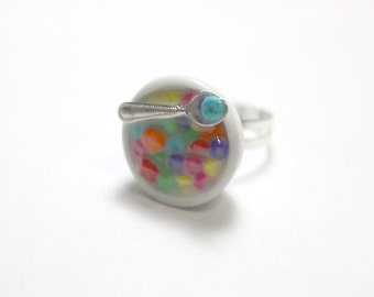 Fruit Loop Cereal Ring, Miniature Food Jewelry, Polymer Clay Food Jewelry