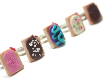 PopTart Ring Collation, Miniature Food Jewelry, Polymer Clay Food Jewelry