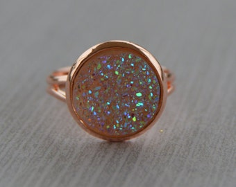 Clear Druzy Ring, Rose Gold Druzy Ring, Rainbow Druzy and Rose Gold Ring, Opal Druzy Ring, Rose Gold Ring, Druzy Statement Ring, Fauz Druzy