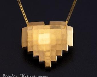 8-bit Heart Pendant in 14kt Yellow Gold