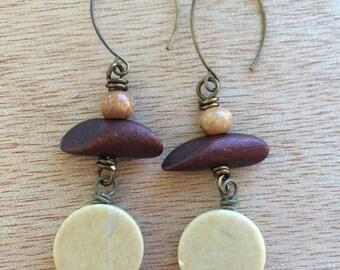 E446 Riverstone and Wood Earrings