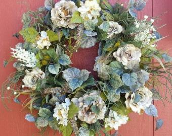 Floral Wreath....Front Door Wreath....Wall Wreath....Rose Wreath