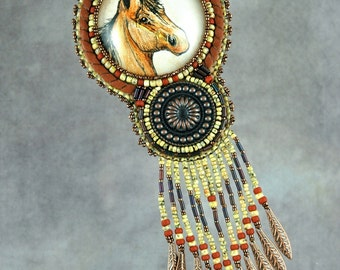 Necklace, Bead Embroidered Necklace, horse, pen and ink, original drawing, copper, leather, handmade, one-of-a-kind, beaded