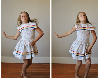 1970s Primary Sailor Dress >>> Girls Size 7/8