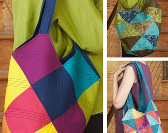 Tote-All Patchwork Tote PDF sewing epattern - three variations of patchwork & two sizes of bags are provided in this pattern