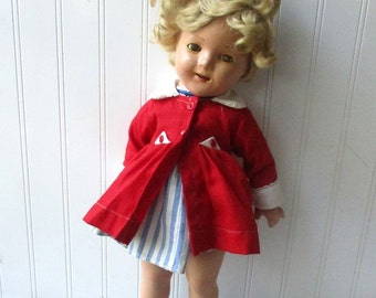 Vintage Ideal composition doll Shirley Temple doll jointed 18 inch jointed repainted