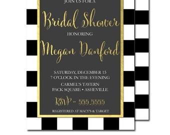 Black White Bridal Shower Invitation | Black Stripes Checkered Squares Gold Foil Invite | Printable Bridal Shower Invitation or Printed