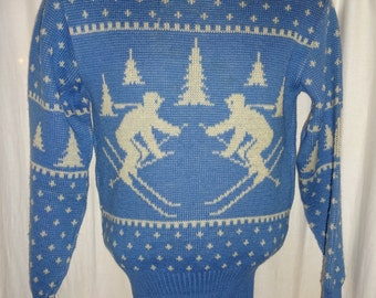 "Classic Vintage 1940's Two Tone Rockabilly Christmas Print Ski Sweater S/38"""