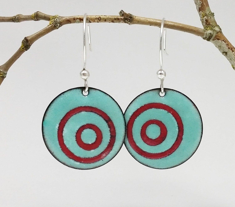 Make An Eye Catching Jewelry Stand From Plumber S Copper: Round Enamel Earrings Teal Earrings Bold Earrings Enamel